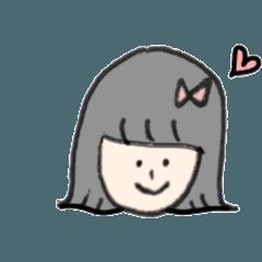 素朴な女の子のスタンプ(カラー)