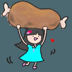 ラブラブ ロングヘアー 女の子 ハート