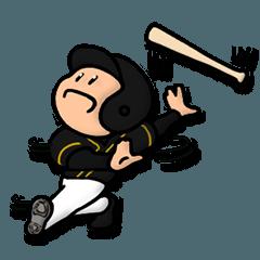 黒×イエロー野球スタンプ★便利な汎用40個