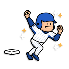 明るい青×白野球スタンプ★便利な汎用40個