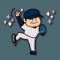 濃紺×赤しま野球スタンプ★便利な汎用40個