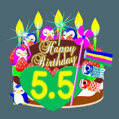 5月の誕生日☆日付入り☆ケーキでお祝い♪