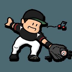 黒赤&縦じま野球スタンプ★便利な汎用40個