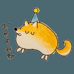 丸いイヌのスタンプ