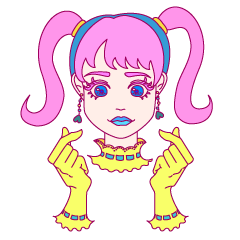 colorful kawaii girl