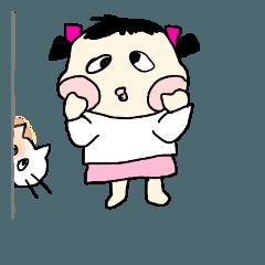 児童とネコちゃん